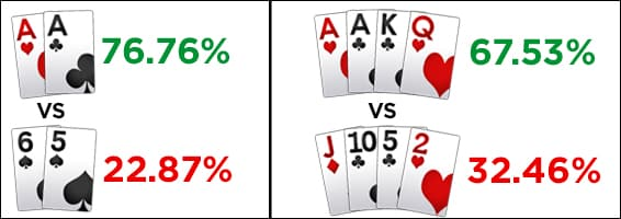 PLO vs Texas Holdem equity comparison