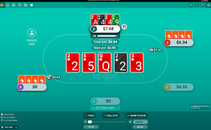 PLO8 Str8 flush